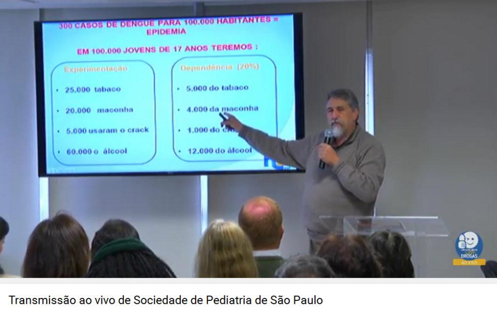 Imagem capturada da internet mostra a transmissão ao vivo da palestra de João Paulo Becker Lotufo