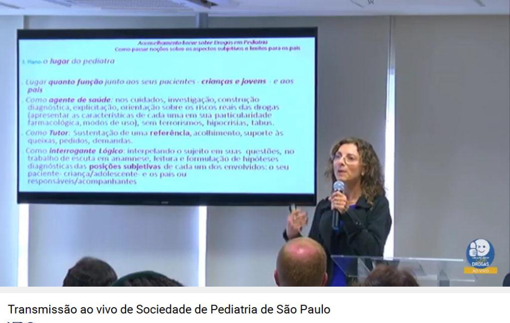Imagem capturada da internet mostra a transmissão ao vivo da palestra de Maria Teresa Lamberte