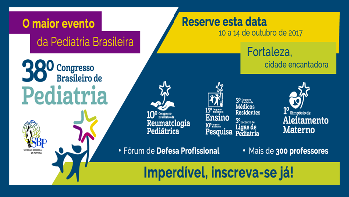 Convite para o 38º Congresso Brasileiro de Pediatria