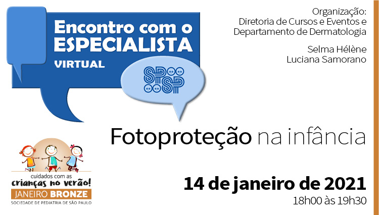 Encontro Virtual com o Especialista: Fotoproteção na infância – Janeiro Bronze (via Zoom)